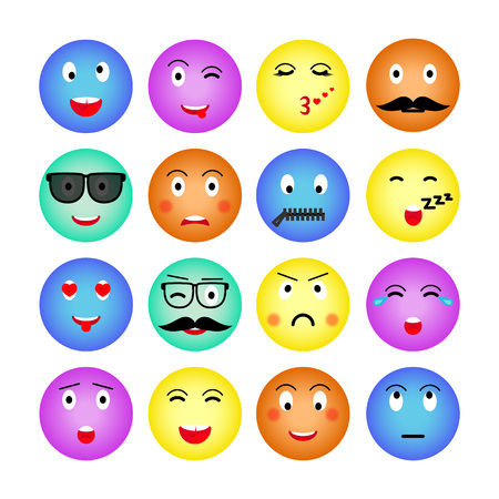 Ensemble d'emojis ronds colorés. Isolé sur fond blanc. Émoticône pour site web, chat, sms. Illustration vectorielle. Vecteur. Vecteurs