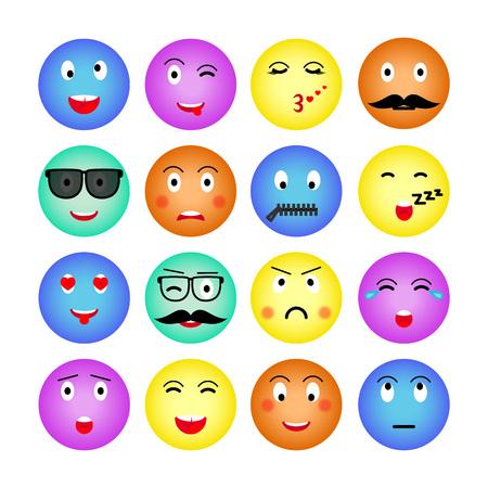 Set di emoji rotondi colorati. Isolato su sfondo bianco. Emoticon per sito web, chat, sms. Illustrazione vettoriale. Vettore. Vettoriali