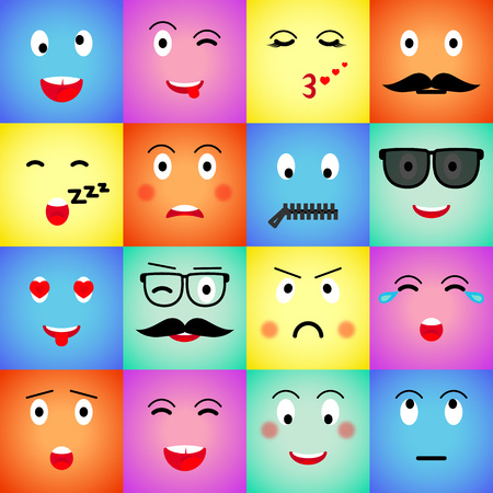 Set of colorful square emojis. Big set flat cartoon style. Face funny backgound. Vector illustration Standard-Bild - 122679998