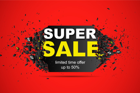 Super Sale Limited time offer up to 50 abstract Background. Promo banner design template with explosion effect. Vector illustration. Illustration