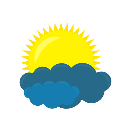 Cloud with sun icon. Vector weather forecast icon on a white background.