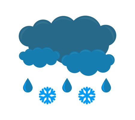 Vector icon with Cloud, Rain and Snow isolated on white background. Cool single weather icon. Vector illustration