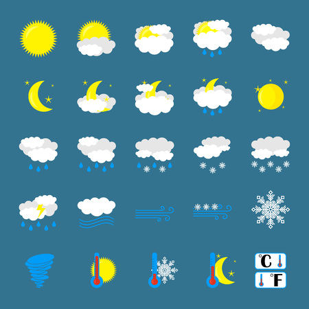 Weather Icon Set. Flat Symbols are Isolated. Blue Background. Cartoon Art Vector Illustrations. Vector