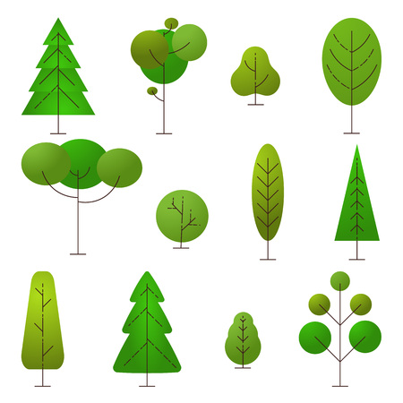 Nature and ecology sign. Set of different cartoon trees on a white background. Vector nature elements for logo. Vector.