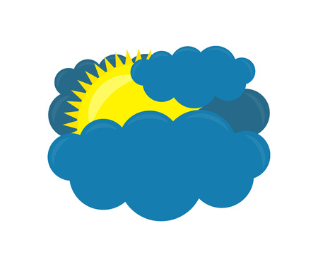 Vector weather forecast icon Cloud with Sun on a white background. Vector illustration.