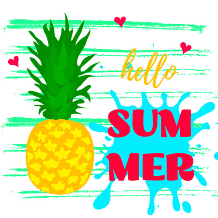 Poster with pineapple. Text Hello Summer. Vector Illustration Illustration