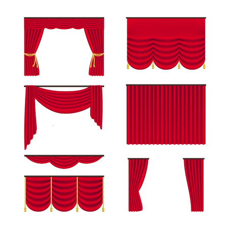 Red realistic curtains set isolated on white background. Draperies interior decoration object. Vector illustration.