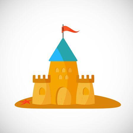 Sand castle. Vector illustration in flat design