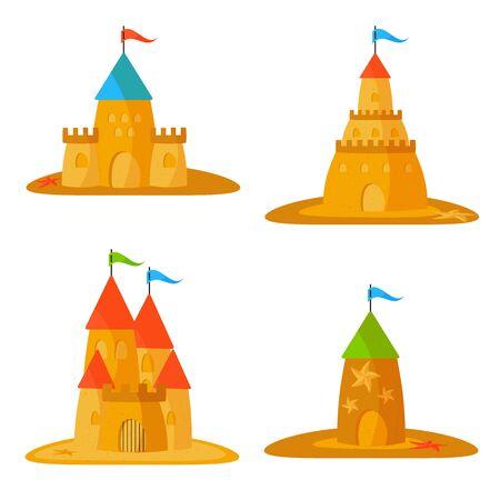 Set of sandcastle. Summer games of sand. Vector Illustration