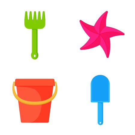 Child pail, shovel and rake colorful icons. Toys for sandbox and Beach. Children summer games. Vector illustration