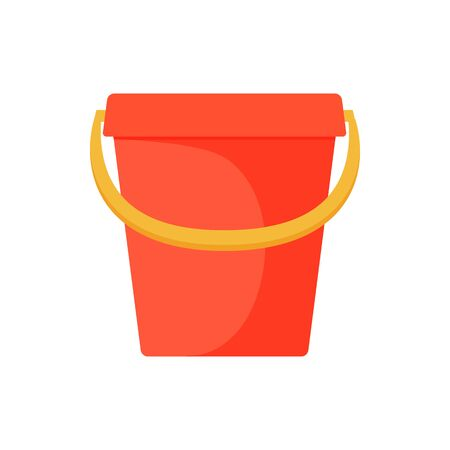 Child pail. Colorful icon on a white background. Beach toy. Children summer games. Vector illustration