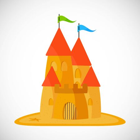 Sand castle with a red roof. Vector illustration in flat design