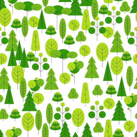 Seamless pattern of cartoon trees on a white background. Vector illustration. Vector Ilustracja