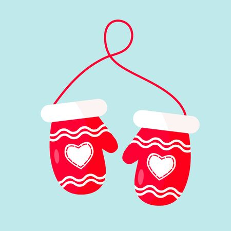 Red mittens. Christmas design. Decoration icon Vector illustration Ilustrace