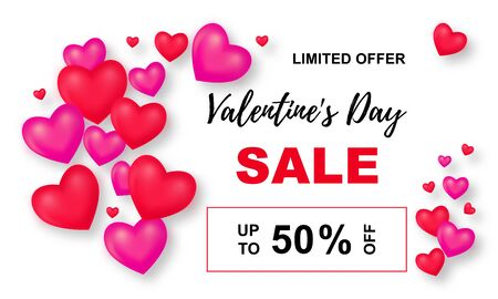 Valentines Day Sale poster. Background wiht 3d Mesh hearts. Up to 50 off. Vector Illustration with Seasonal Offer.