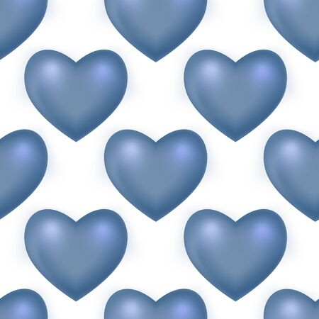 Blue 3d Mesh hearts. Vector Seamless pattern on the white background. Vector illustration
