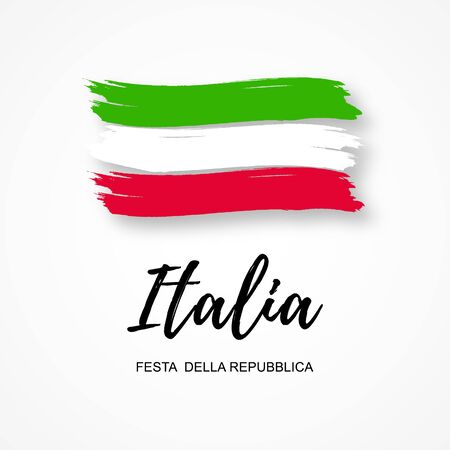 Italian Republic Holiday. Brush stroke. Vector illustration on white background. Independence Day. Vector