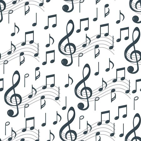 Music notes seamless pattern. Background music. Vector illustration