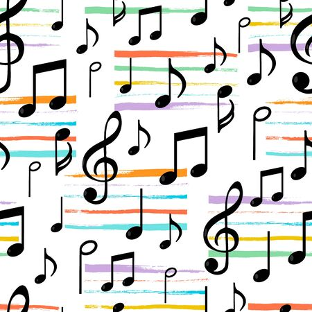 Music notes seamless pattern with paint stripes. Vector illustration