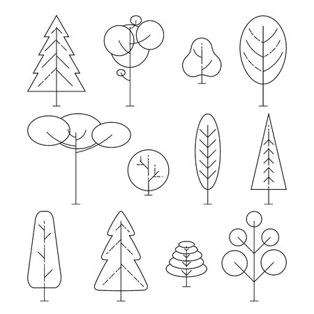 Different trees on a white background. Vector Line Icon Set. Element for ecology or nature logo. Vector illustration 矢量图像