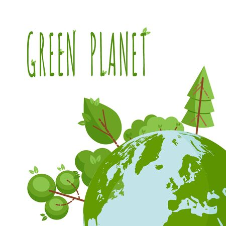 Concept with green trees and planet Earth. Place for text. Text Green Planet. Ecological concept. Template for flyer, poster, invitation, Earth day. Flat, thin line style design. Vector illustration. Illusztráció