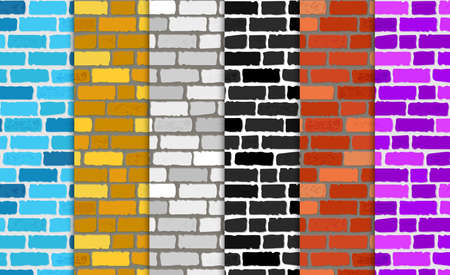 Realistic different color brick textures collection. Brick wall seamless background. Set of Texture. Vector illustration Stock Illustratie
