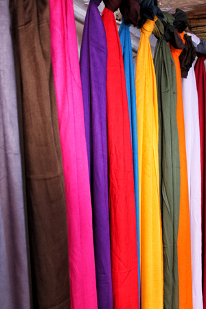 Colorful scarves for sale in Morocco, also known as shesh (touareg turban). Stock Photo