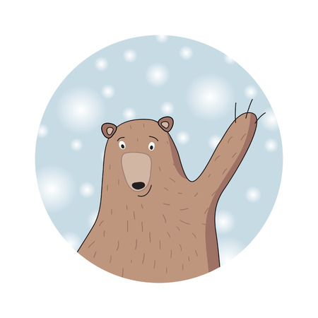 Cute bear. Winter background with snowflakes. Christmas card or icon.