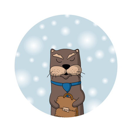 Otter manager with tie and case. Winter background with snowflakes. Christmas card or icon. Vector