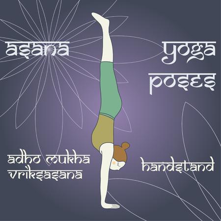 vriksasana: Adho Mukha Vriksasana. Handstand. Asana. Yoga poses.