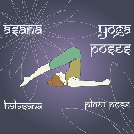 plow: Halasana. Plow pose. Asana. Yoga poses.