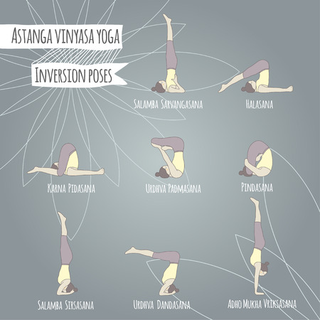 inversion: Inversion poses. Asana. Yoga poses.
