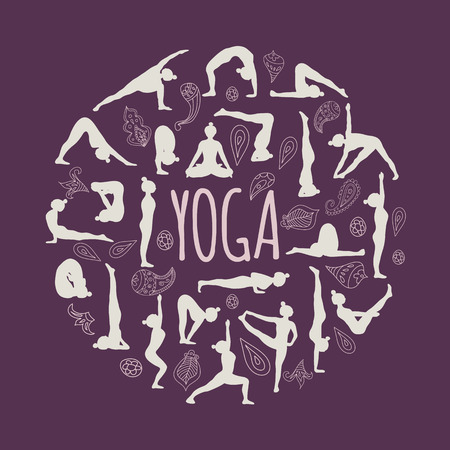 Set of yoga poses. Round form and paisley ornament. Purple background. Illustration