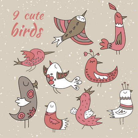 decembe: Set of nine cute winter birds. Brown, red and white coloured.
