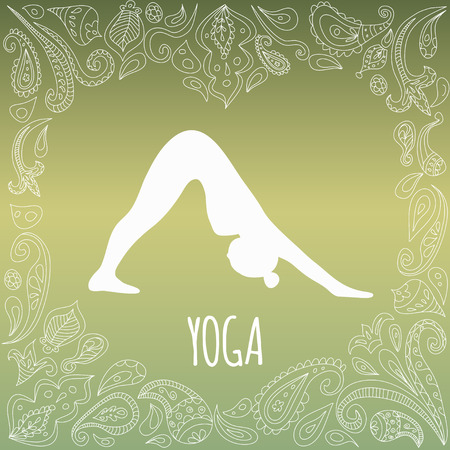 fitness instructor: Yoga logo with heart frame and girl practicing Downward-Facing Dog (Adho Mukha Svanasana). White silhouette and beautiful green gradient background. Paisley ornament. Illustration