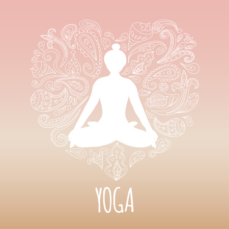 female pose: Yoga icon with heart and girl practicing lotus pose. White silhouette and beautiful pink gradient background.