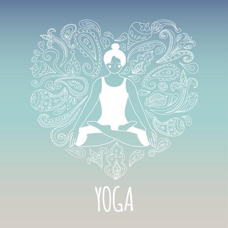 Icono de la yoga con el corazón y practicante de la muchacha de loto. Figura en el vestido blanco y hermoso fondo azul degradado. Ilustración de vector