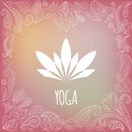 Yoga logo with heart frame and white lotus silhouette. Beautiful pink gradient background. Paisley ornament.