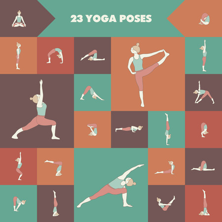 asanas: Set of twenty three yoga poses. Girl practicing asanas.