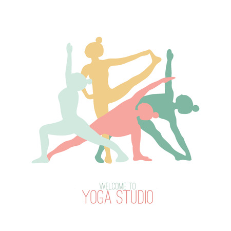 Four silhouettes of girls practicing yoga poses. Illustration