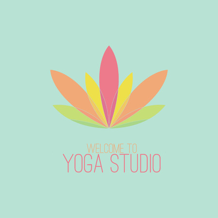 yoga class: Colorful lotus icon Illustration