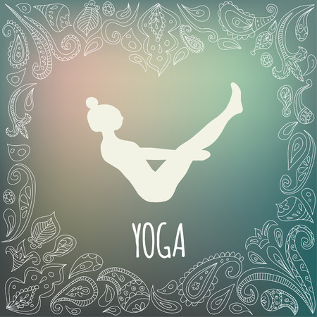 love icon: Yoga icon with heart frame and girl practicing Boat Pose (Navasana). White silhouette and beautiful green gradient background. Paisley ornament.