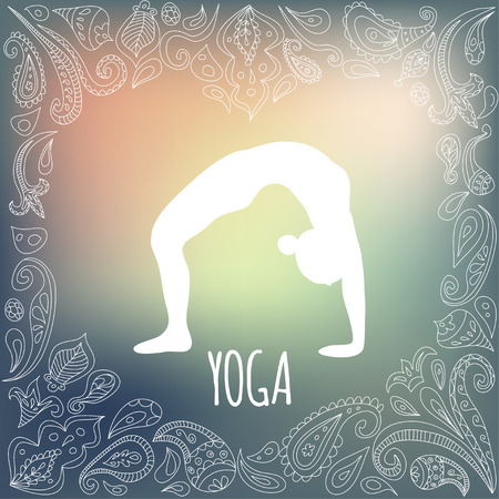 Yoga icon with heart frame and girl practicing Wheel Pose (Urdhva Dhanurasana). White silhouette and beautiful green gradient background. Paisley ornament.