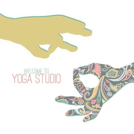 yoga class: Two hands making yoga gestures - mudras (seals) - Surya Mudra and Gyan Mudra.