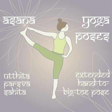 estendido: Utthita Parsva sahita. Mão-de-Big-Toe pose prolongado. Asana. Yoga Poses.