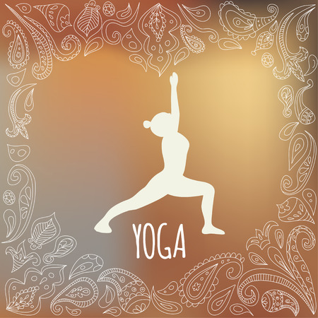 Yoga logo with heart frame and girl practicing  Warrior I Pose (Virabhadrasana I). White silhouette and beautiful orandge gradient background. Paisley ornament. Vector
