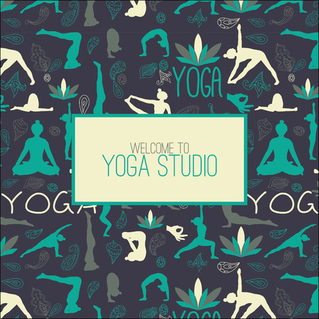 yoga class: Seamless pattern for yoga studio. Illustration