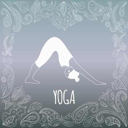 position d amour: logo Yoga avec cadre de coeur et une fille pratiquant orient�e vers le bas Dog (Adho Mukha Svanasana). Figure en robe blanche et belle gradient fond bleu. Ornement Paisley.