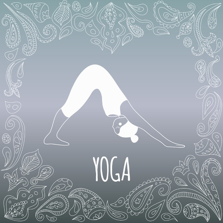 Yoga logo with heart frame and girl practicing Downward-Facing Dog (Adho Mukha Svanasana). Figure in white dress and beautiful blue gradient background. Paisley ornament. Vector