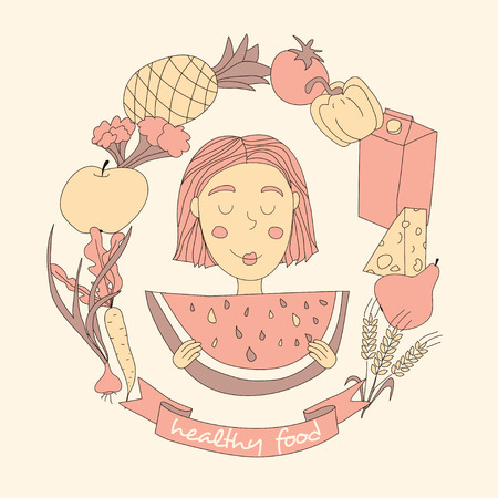 watermelon woman: Cute girl and set of fresh food